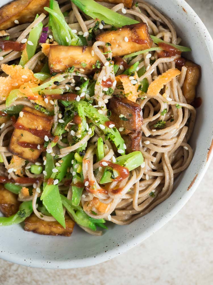 Snow Pea Soba Noodles | These snow pea soba noodles are light and fresh with a miso ginger dressing. Perfect for a light lunch or dinner in spring and summer. | SeasonedVegetable.com