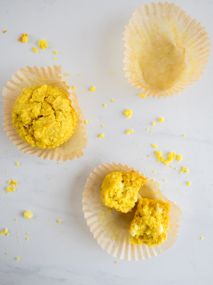 Turmeric Cornbread Muffins | These easy cornbread muffins are seasoned with savory turmeric and other Indian spices. Sweet corn kernels add a pop of sweetness and juice. | SeasonedVegetable.com