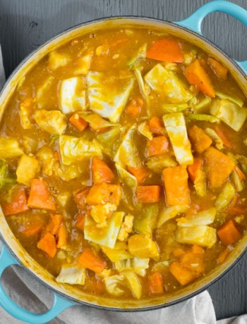 One Pot Japanese Pumpkin Curry Stew | A rich, gluten free and vegan one pot pumpkin curry stew with Japanese curry seasoning. It's the perfect recipe for easy fall dinners. | SeasonedVegetable.com #fallrecipe #onepot #vegan #glutenfree