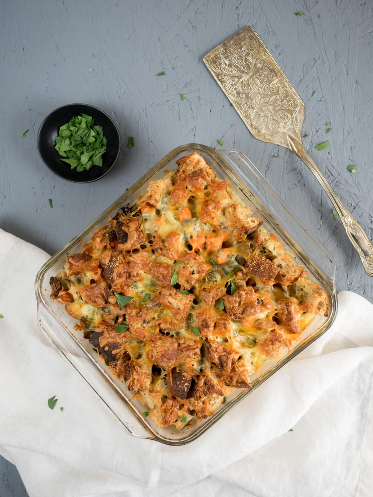 Leftover Thanksgiving Breakfast Strata | An easy leftover recipe, this Thanksgiving breakfast strata combines stuffing and roasted vegetables with eggs and cheese for a hearty breakfast with minimal hands on cooking. | SeasonedVegetable.com #leftoverrecipe #thanksgivingrecipe #fallrecipe #vegetarianbreakfast