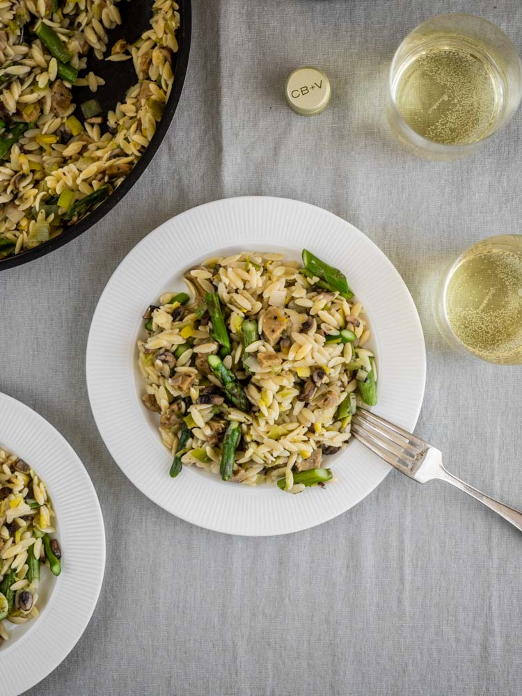 Overhead view of asparagus risotto