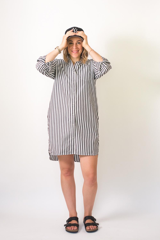 da02b5a27e3 Seasons and Salt Everlane Cotton Poplin Collarless Shirt Dress-4 ...