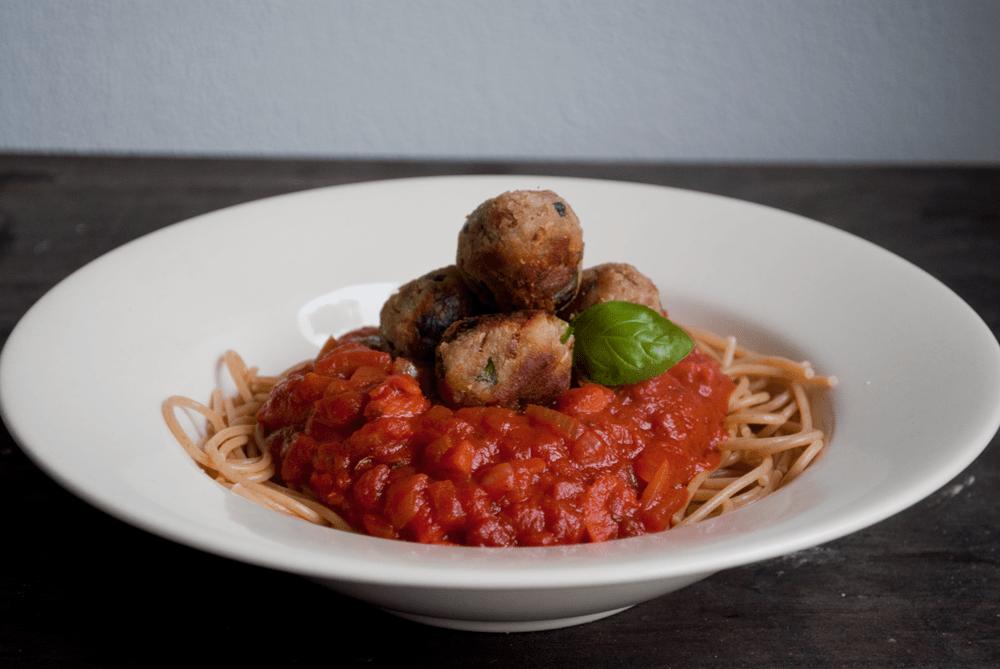 Spaghetti met tonijn balletjes