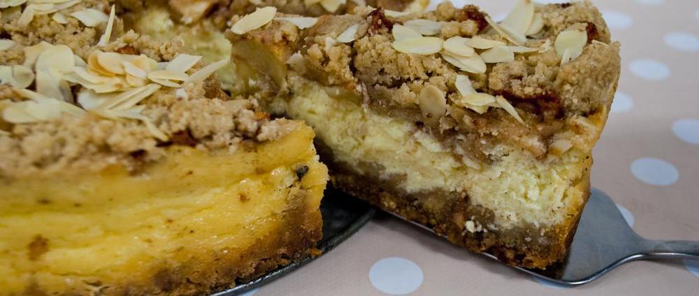 appel kruimel cheesecake