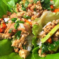 Tofu Lettuce Wraps with Hoisin-Peanut Sauce