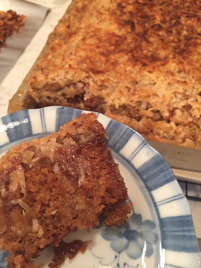 Coconut Pecan Oatmeal Cake slice (A Seat at the Table)