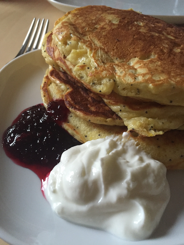 Lemon Poppy Seed Pancakes with Greek Yogurt (A Seat at the Table)