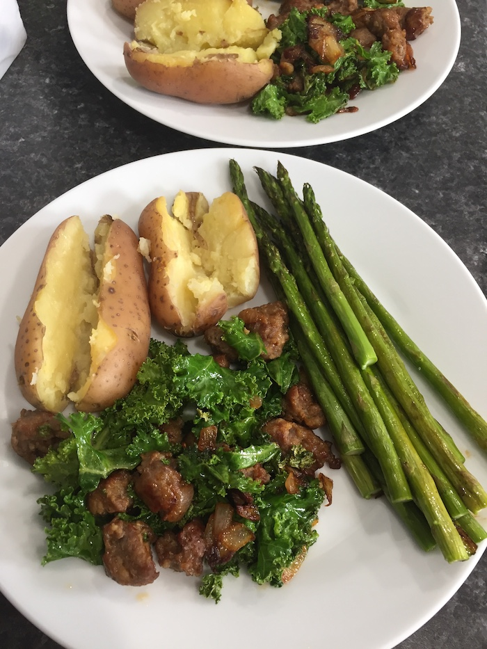 Sausage and Kale Sauté with Potatoes and Asparagus (A Seat at the Table)
