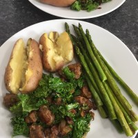 Sweet Sausage and Kale Sauté with Potatoes and Asparagus