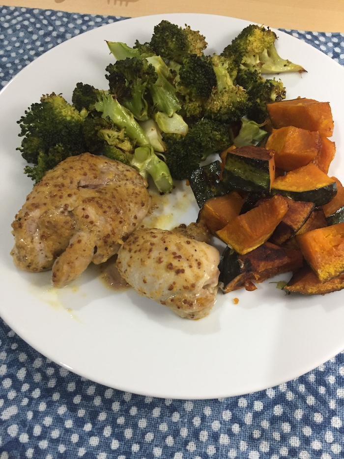 Honey Mustard Chicken with kabocha and broccoli (A Seat at the Table)