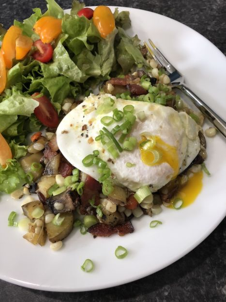 Bacon Corn Hash with Runny Egg (A Seat at the Table)