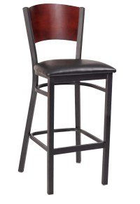 Interchangeable Back Metal Bar Stool with Solid Back