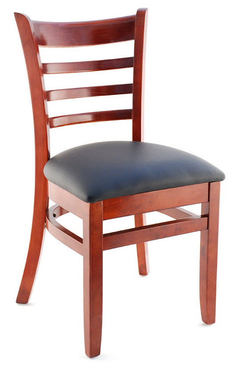 ladder back chair steel price in bangladesh premium wood restaurant us made mahogany finish and black vinyl seat
