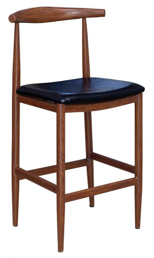 chair stool black dining table and chairs hong kong wood grain metal bar in walnut finish with vinyl seat