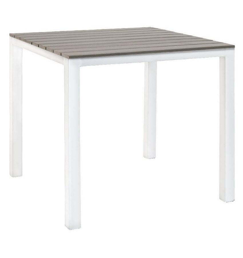 white patio table with grey plastic teak top