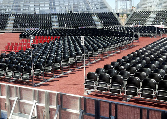 portable folding chairs cast iron table and nz seating solutions | floor track grid system
