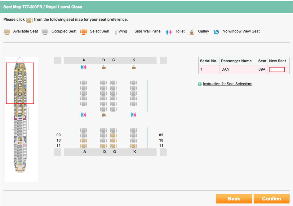 EVA Seat Selection Page