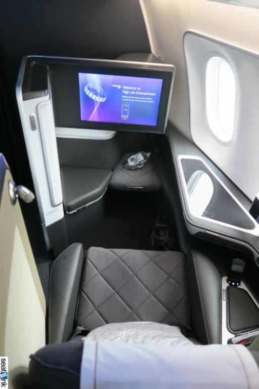 View forward of 1K - note the extra room in the footrest area in this iteration of the first class seat