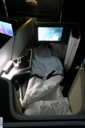 Another view of the first class seat in bed mode