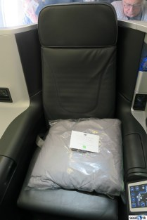 Blanket/pillow greet you at the seat