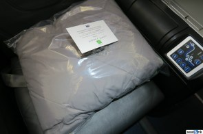 Closeup of the blanket & pillow