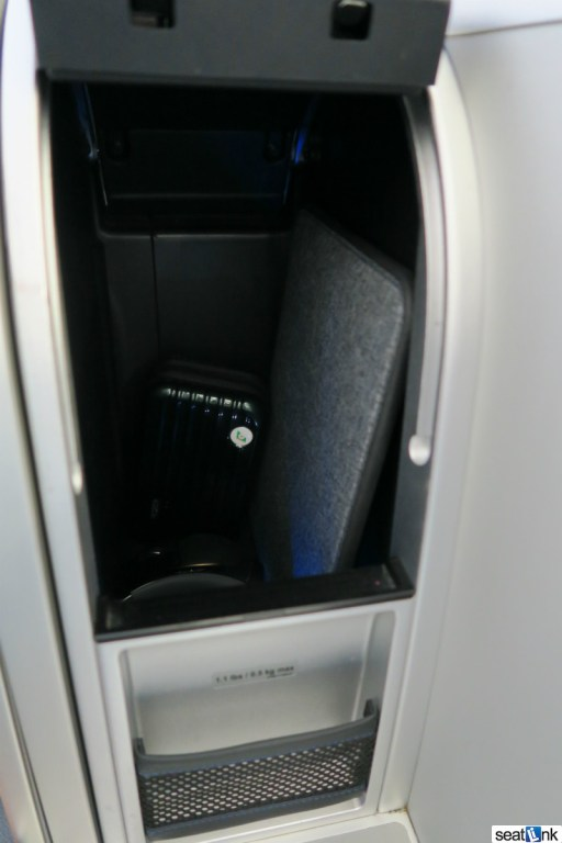 Mint class has excellent in-seat storage for computer etc.