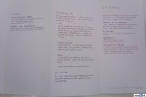 Virgin Atlantic Upper Class dessert and snacks menu