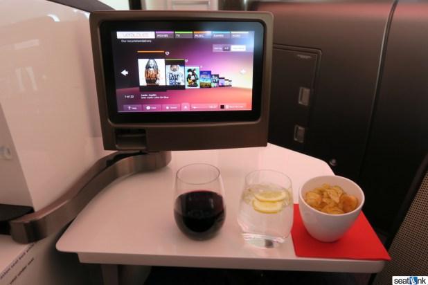Virgin Atlantic Upper Class IFE screen and post-departure snack