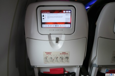 Virgin America seatback video screen
