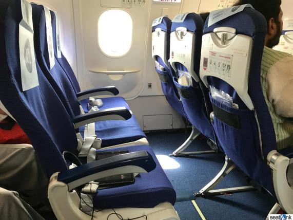 Seats 13A, B, and C on IndiGo A320