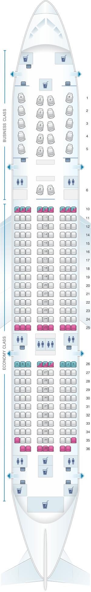 Seat Map For Qatar Airways Boeing B787 Dreamliner 254pax
