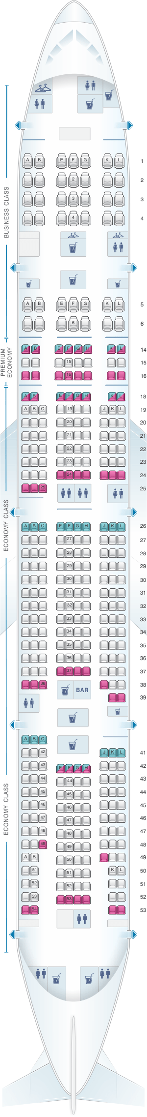 Seating plan boeing 777 300er air france for Plan de cabine boeing 777 200 air france