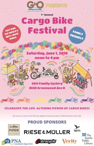 cargo bike festival seattle 2019 330x510 - Saturday: G&O Family Cyclery hosts a Cargo Bike Festival in Greenwood
