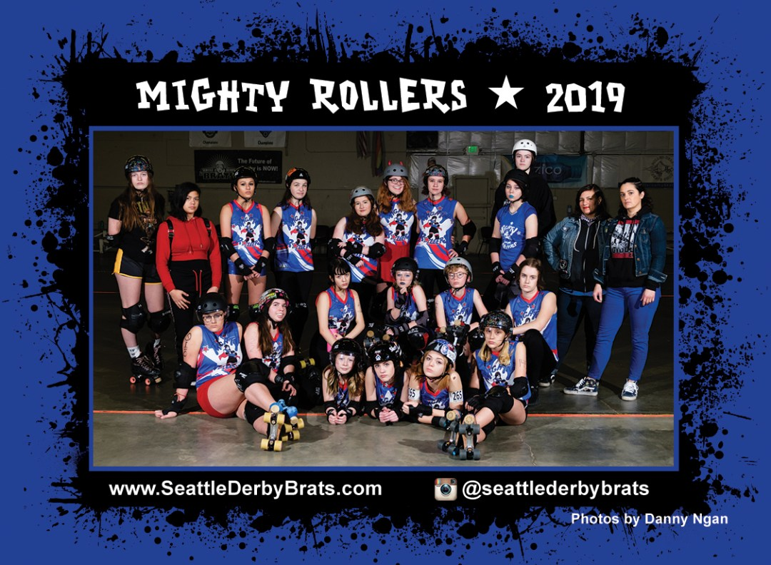 Mighty Rollers 2020 Team Photo featuring the junior roller derby team in their blue jerseys, safety gear, and helmets that showcase their personality.