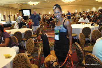 """Taylor-Boyd and Ranger were big hits at the Disabled American Veterans national convention this year in Las Vegas in August. """"Not only is he my Velcro dog but he's my identity,"""" she says."""
