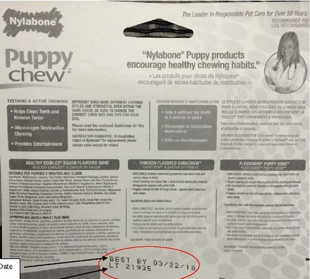 You can find the Lot date on the back of the packages of Nylabone Puppy Starter Kit. Image from Dogster.com.