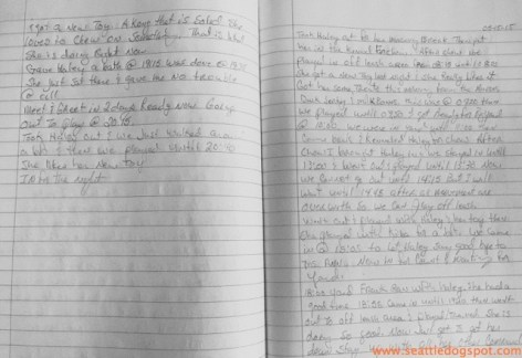 James kept extensive, specific notes regarding Haley's training. Photo from Seattle DogSpot.