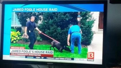 Bear outside Jared Fogel's house. Image from Tactical Detection K-9 Facebook page.