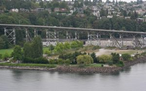 Smith Cove Park will be under the Magnolia Bridge on Elliot Bay. Image from Citizens for Off Leash Areas (COLA)
