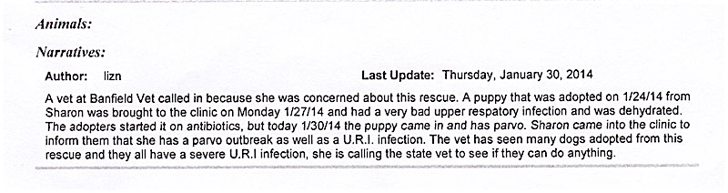 """A Banfield veterinarian filed a report with JAS saying she had seen many dogs adopted from Furever Homes and """"they all have a severe URI infection."""""""