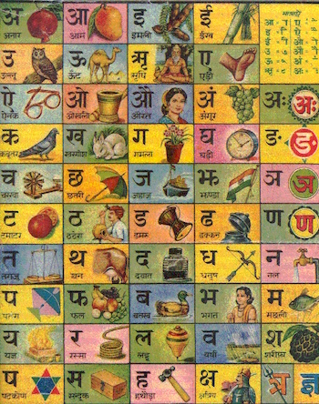 Hindi script chart showing all of the basic characters