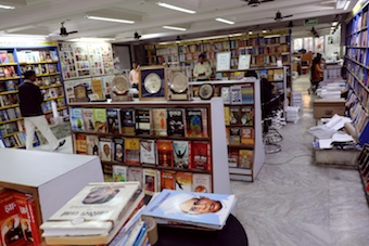 A bookstore in Delhi, India displaying books in Hindi.