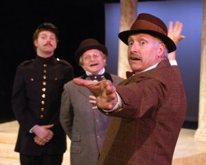David Rollison (Dull), Dale Bowers (Sir Nathaniel) and Allan Armstrong as (Holofernes) in Seattle Shakespeare Company's 2005 production of Love's Labour's Lost.