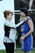 """Macall Gordon as Alice and Carolyn Marie Monroe as Katherine in Seattle Shakespeare Company's 2013 Wooden O production of """"Henry V."""""""