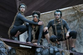 """The Ariels (l-r) Olivia Hartshorn, Tonya Andrews, and Scott Ward Abernethy in Seattle Shakespeare Company's 2013 Wooden O production of """"The Tempest."""""""