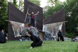 """Amy Thone as Prospero (center) with Meg McLynn as Antonio and Brandon J. Simmons as Sebastian in Seattle Shakespeare Company's 2013 Wooden O production of """"The Tempest."""""""