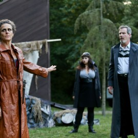 """Amy Thone as Prospero, Pilar O'Connell as Adrian, and Jim Gall as King Alonso in Seattle Shakespeare Company's 2013 Wooden O production of """"The Tempest."""""""