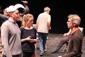 "Director George Mount talks with Matt Shimkus (Benedick) and Jennifer Lee Taylor (Beatrice) in rehearsal for ""Much Ado About Nothing."""
