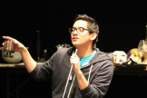 """Justin Huertas as Balthasar in rehearsal for """"Much Ado About Nothing."""""""