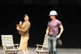 """Heather Persinger as Verges and David Quicksall as Dogberry in rehearsal for """"Much Ado About Nothing."""""""